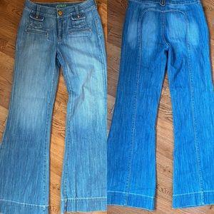 Vintage retro look wide leg ,flare leg .Grass jean